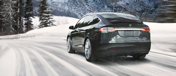 Tesla Model X Rear Snow Forest