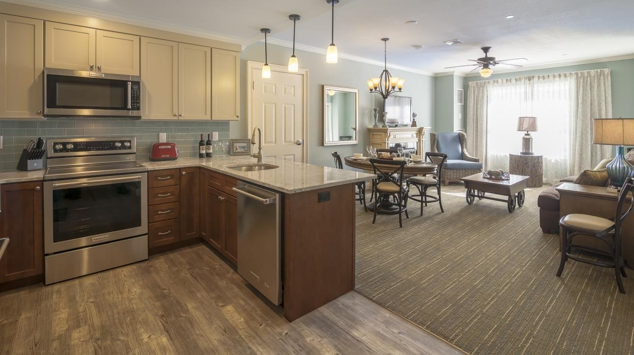 One, two and three bedroom suites at Riverwalk at Loon Mountain are all appointed with luxury furnishings, full-kitchens, fireplaces, soaker tubs, balconies with views, and plenty of room to relax.